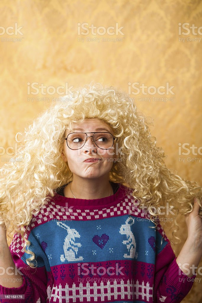 Big Hair Nerdy Girl stock photo