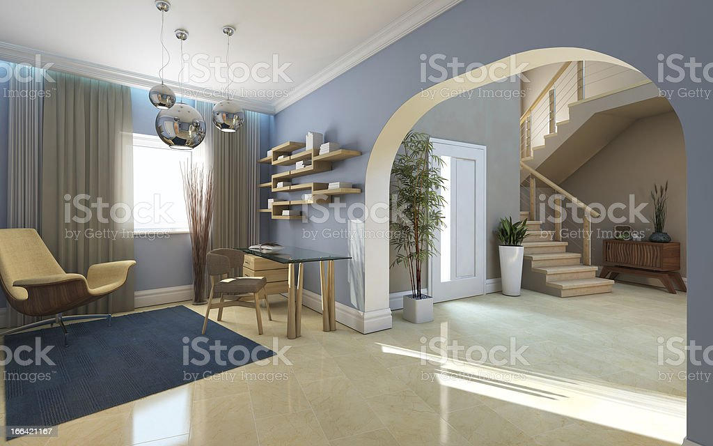 Big Hall And Office royalty-free stock photo