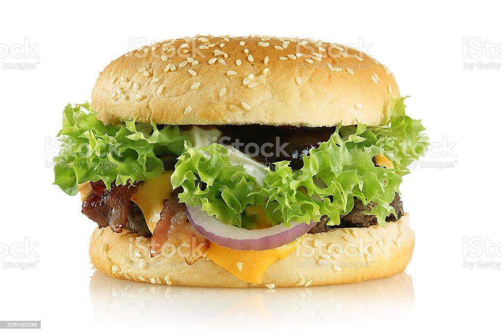 Big Hamburger mit Bacon stock photo