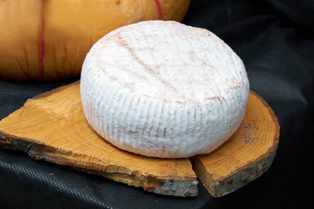Gran cabeza de queso en un molde blanco acostado sobre una tabla de madera, espalda negra - foto de stock