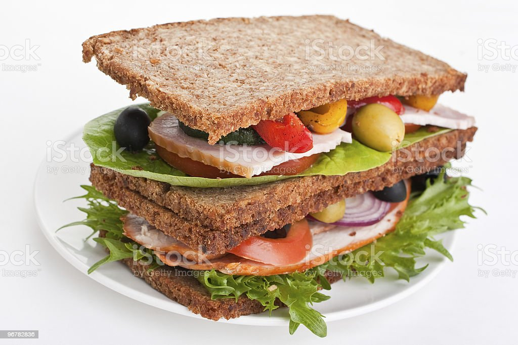 big healthy stacked sandwich royalty-free stock photo