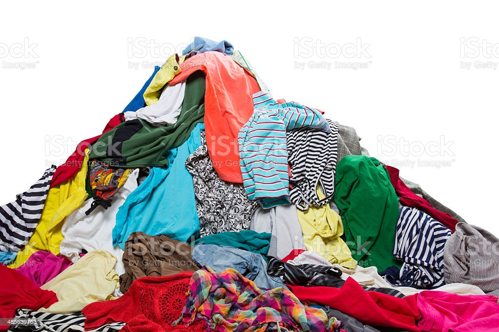 Big heap of colorful clothes stock photo
