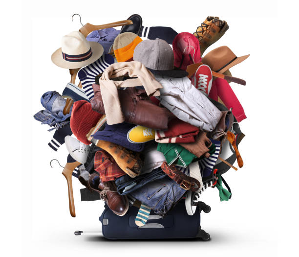 Big heap of different clothes stock photo