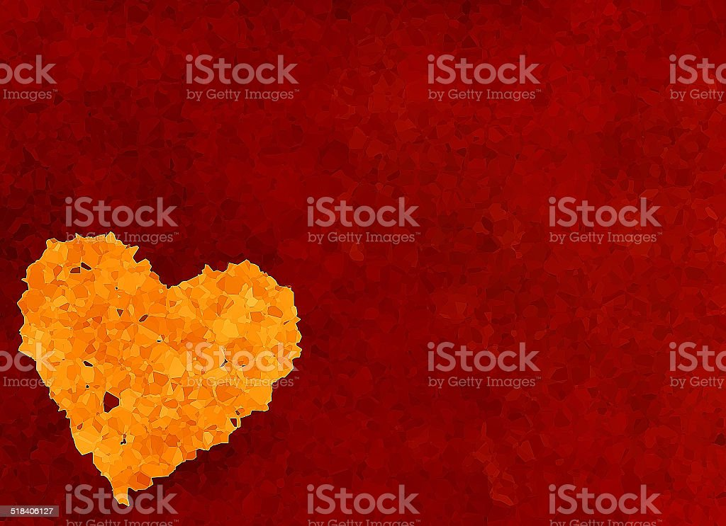 big heart from mosaic particle on red textured background stock photo