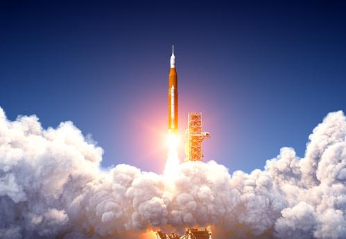 Big Heavy Rocket Space Launch System Launch. 3D Illustration.