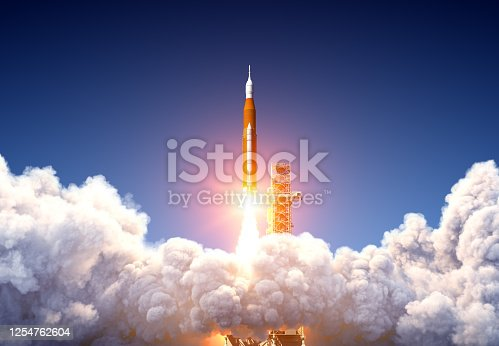 Big Heavy Rocket Space Launch System Launch. 3D Illustration.