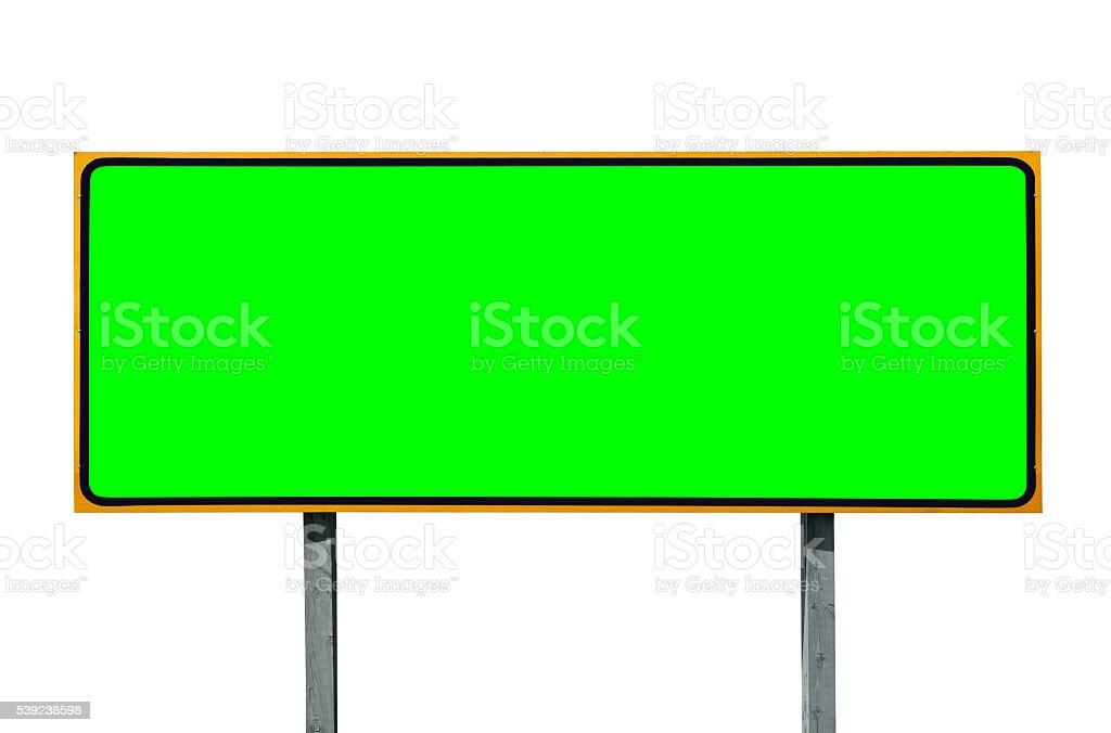 grande estrada sinal Isolado no branco com Croma encaixe Verde foto royalty-free