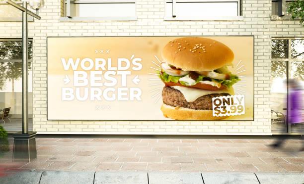 große horizontale Burger Poster Mockup – Foto