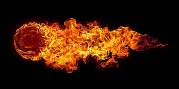 große horizontale flying fire ball - feuerkugel stock-fotos und bilder