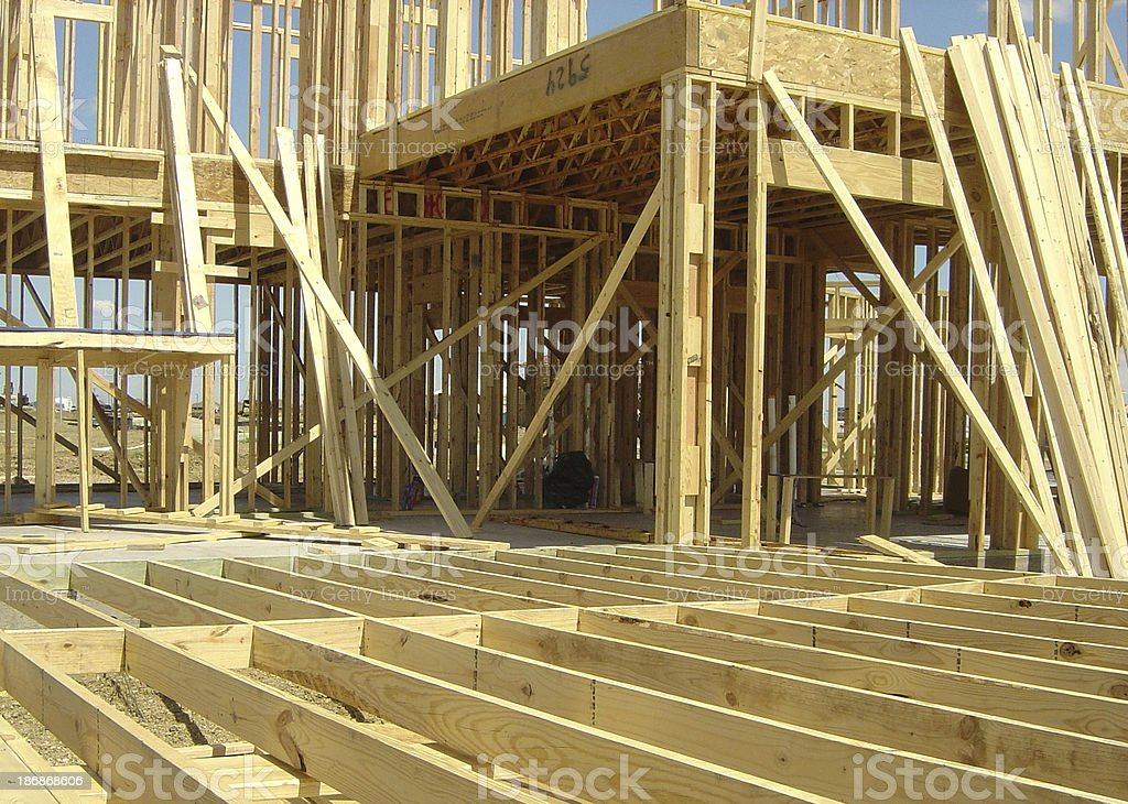 Big House Being Built On Foundation royalty-free stock photo