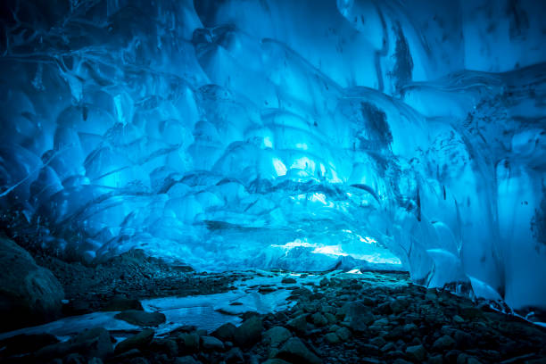 Big ice cave near Whistler, Canada. stock photo