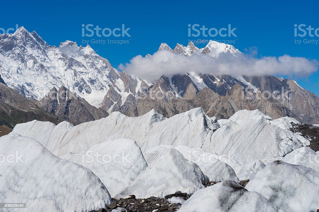 Big ice on Baltoro glacier, K2 trek, Skardu, Gilgit, Pakistan stock photo