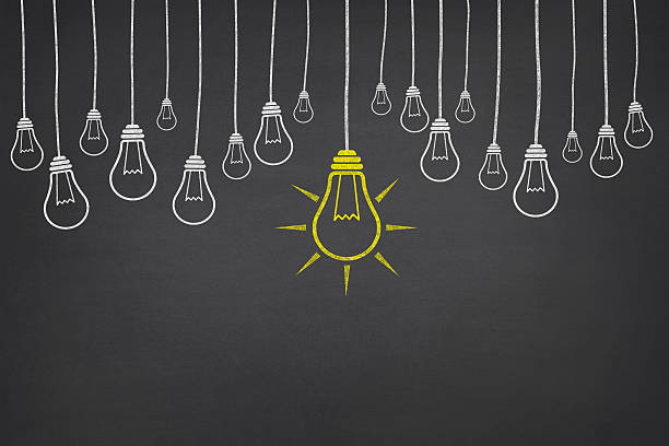 Big Idea New idea concept with light bulbs on blackboard. blackboard visual aid stock pictures, royalty-free photos & images