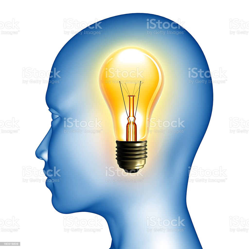 Big idea - silhouette with lightbulb, clipping path included royalty-free stock photo