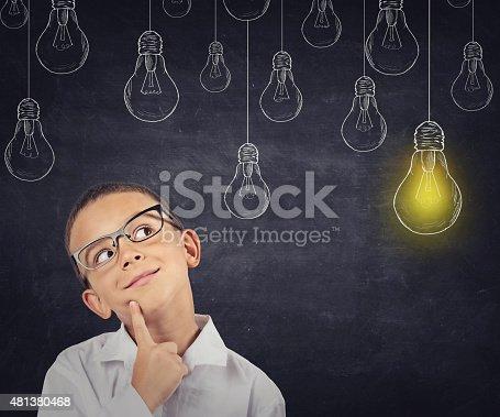 istock Big idea. Smart boy with solution lightbulb above head 481380468