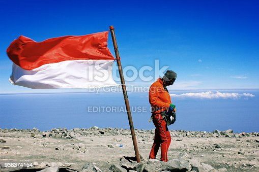 istock Big Indonesia National Flag at Semeru Mountain 936374154