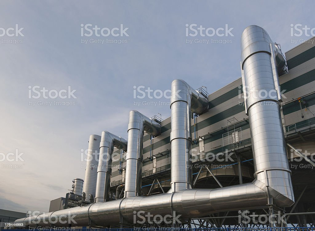 Big innovative district heating plant in a district of Turin stock photo