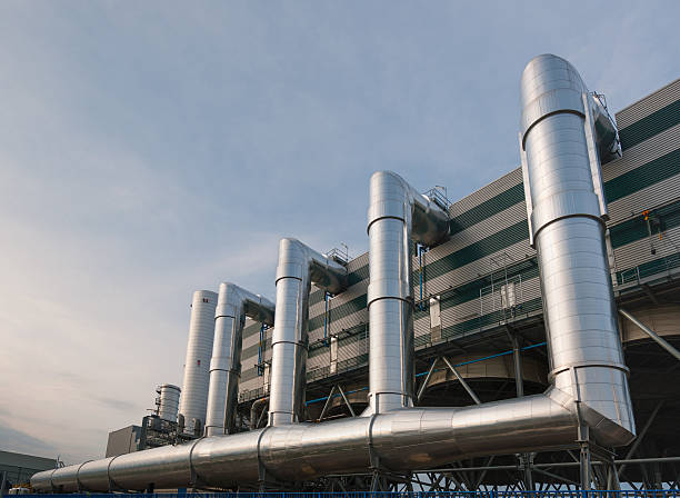big innovative district heating plant in a district of turin - cogeneration plant stock photos and pictures