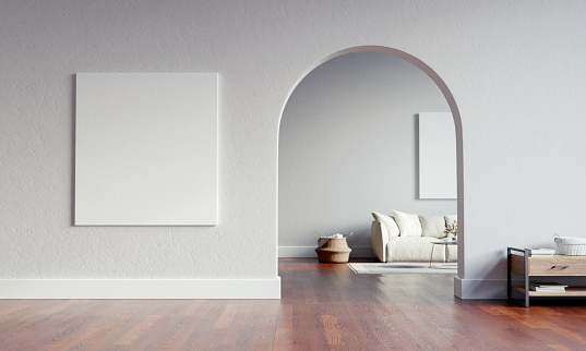 Big interior with large mock-up canvas and circular arc entrance to another space. Minimalistic style with full of empty space. 3D render illustration.
