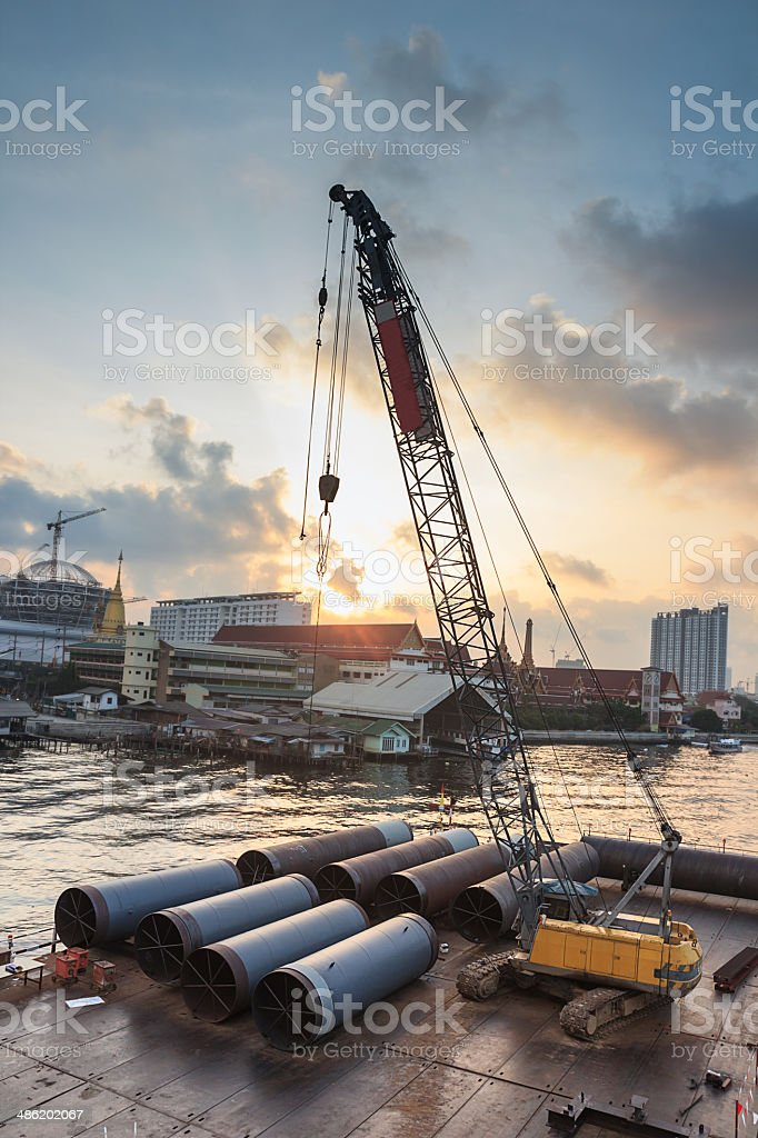 Big Iron Pipe with Crane royalty-free stock photo