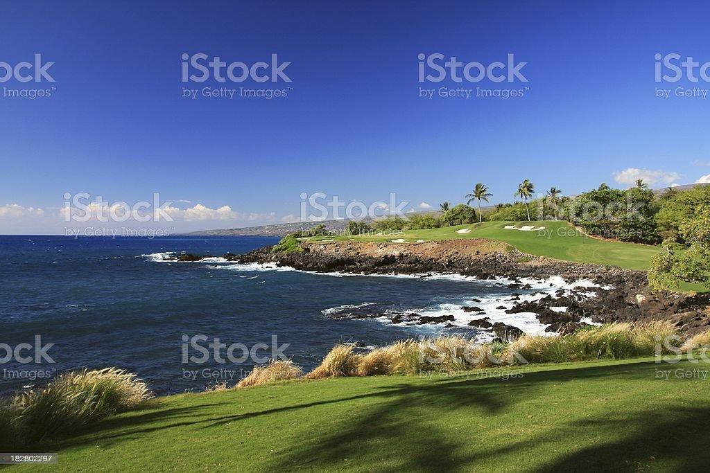 Big Island Hawaii Pacific ocean front golf course stock photo