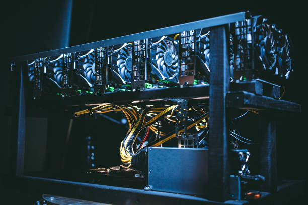 Big IT machine with fans. Bitcoin mining farm stock photo