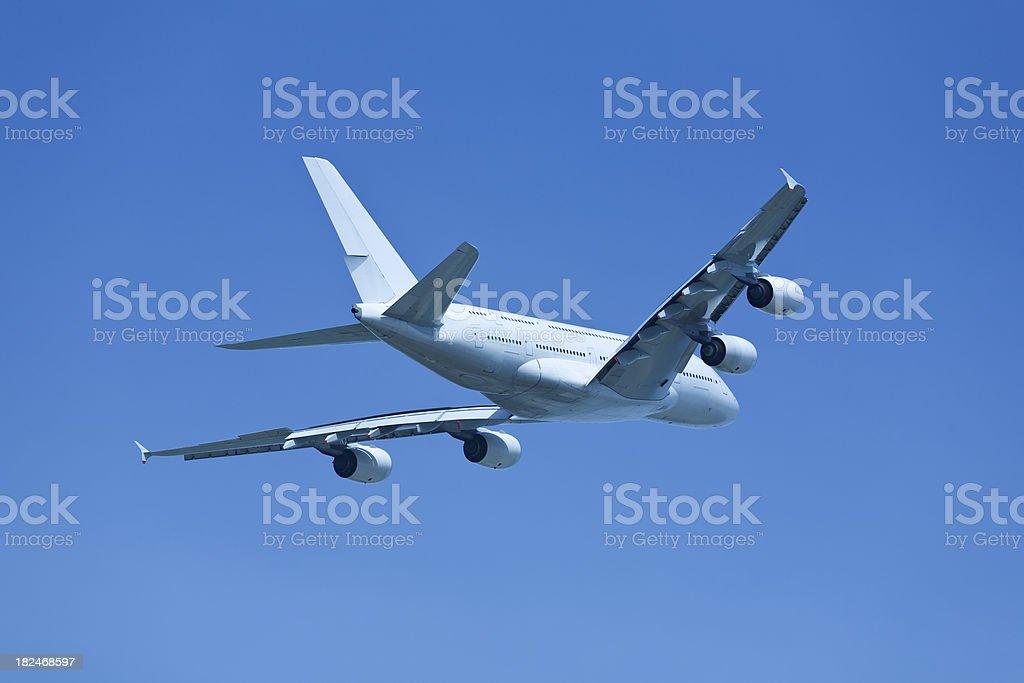 Big Jet Airplane on Clear Sky stock photo