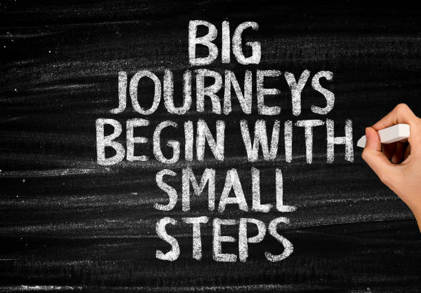 Big journeys begin with small steps Big journeys begin with small steps encouragement stock pictures, royalty-free photos & images