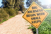istock Big Journeys Begin With Small Steps sign on road 1297465843