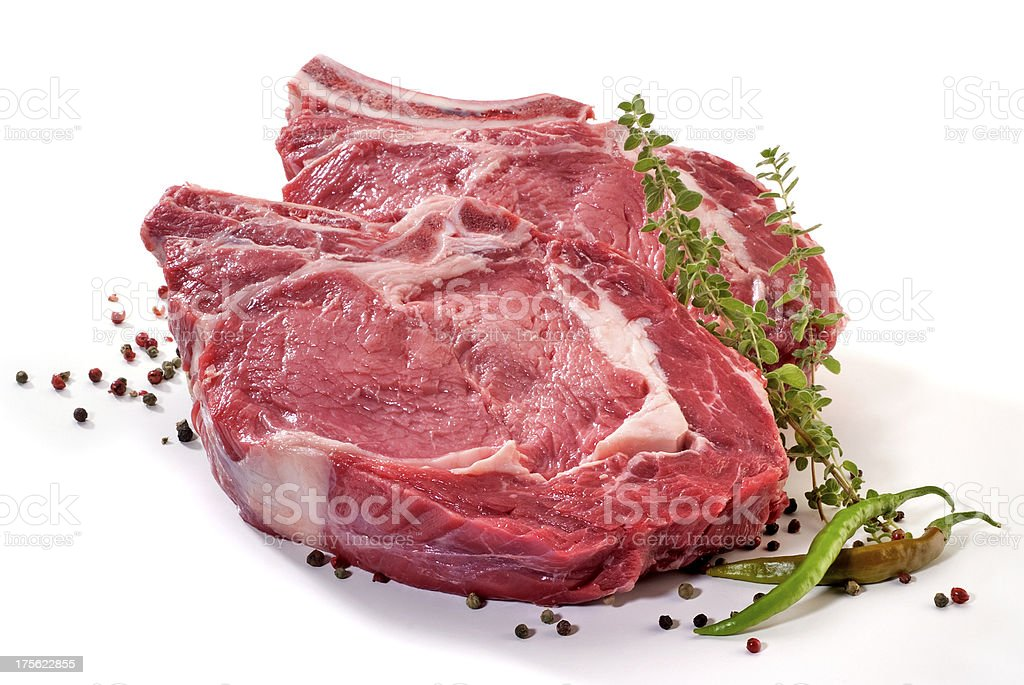 Big juicy beef steaks stock photo