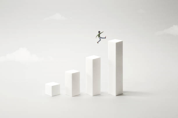 big jump to reach the top, success concept stock photo