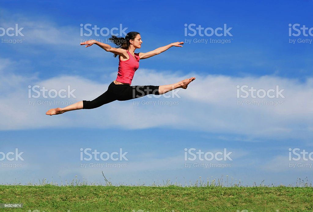 Big jumping on meadow royalty-free stock photo