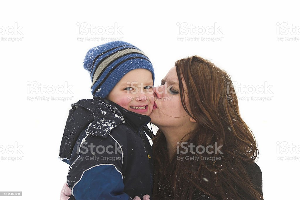 Big kiss from mommy royalty-free stock photo