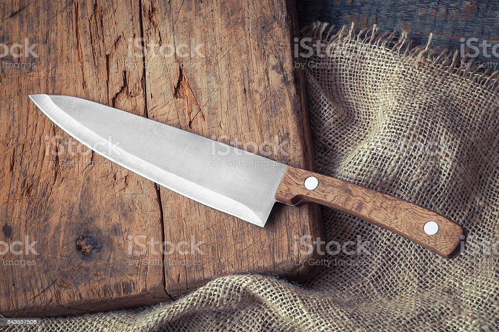 Big kitchen knife stock photo