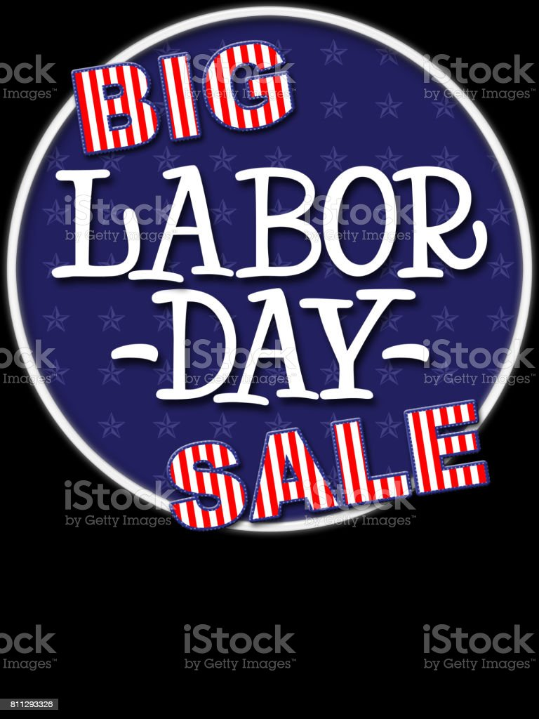 Big Labor Day Sale, colors red, white and blue, Isolated against the black background. stock photo