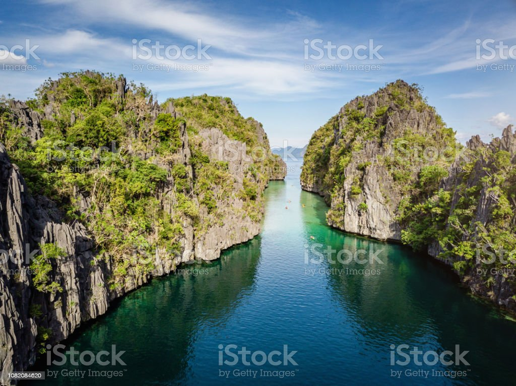 Big Lagoon El Nido Canal Palawan Aerial View Miniloc Island