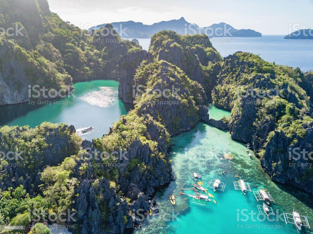 Büyük lagün Palawan Miniloc Island El Nido Filipinler - Royalty-free Ada Stok görsel