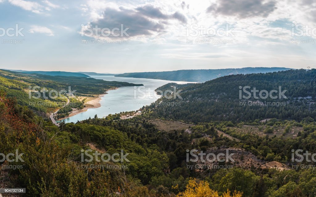 Big lake in a wild nature in Provence, France stock photo