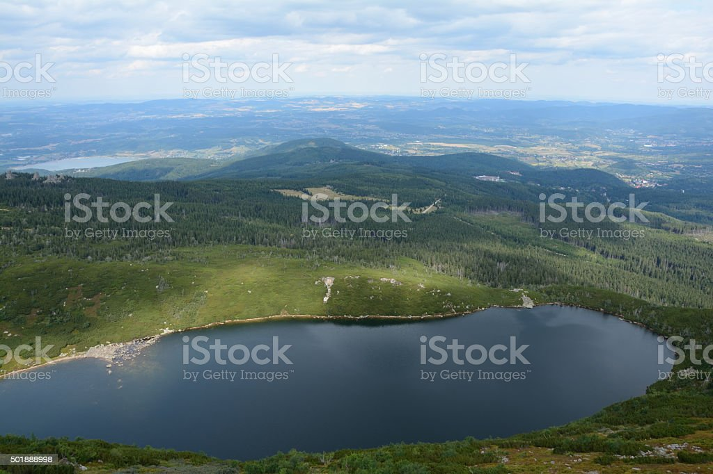 Big lake nearby Samotnia mountain hostel. stock photo