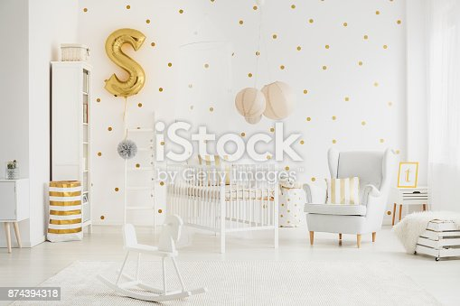 istock Big lampshades above bed 874394318