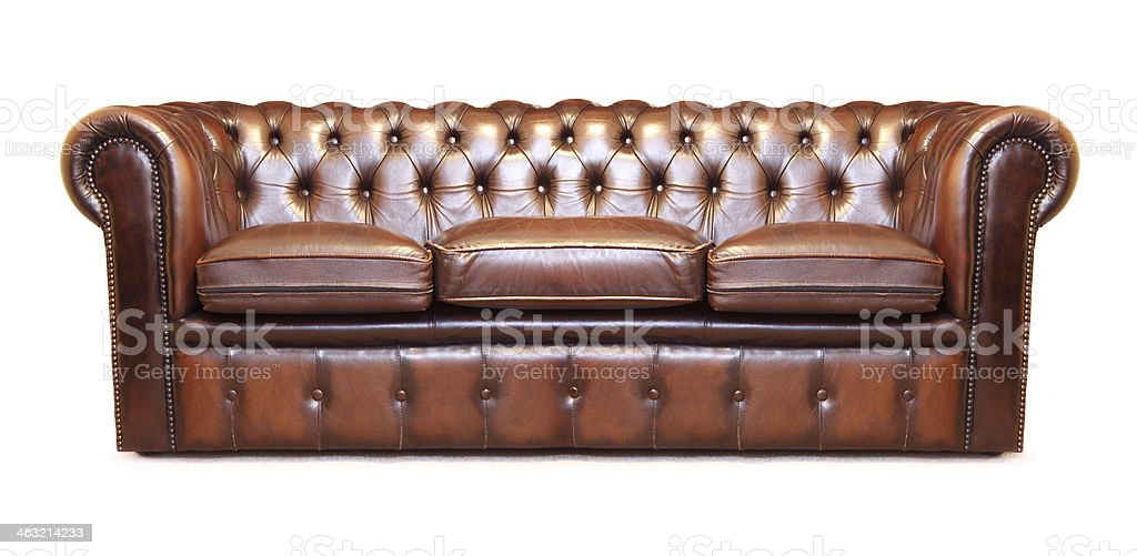 Big leather sofa stock photo