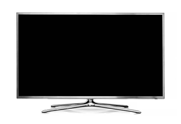 big led tv isolated on white background stock photo