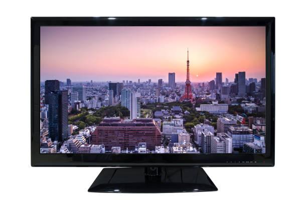 große led-tv mit Stadtbild Ansicht isoliert auf weißem Hintergrund – Foto