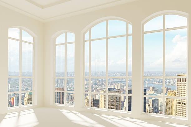 big light modern room with city view - fönsterrad bildbanksfoton och bilder