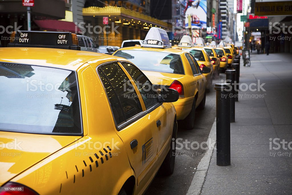 Big Line of Yellow Taxis in New York City stock photo