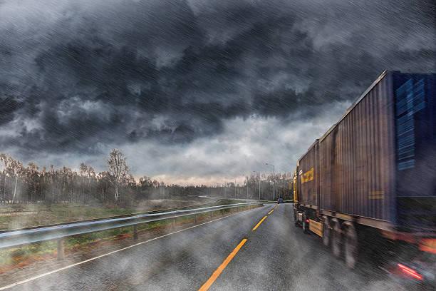 Big lorry during the rain stock photo