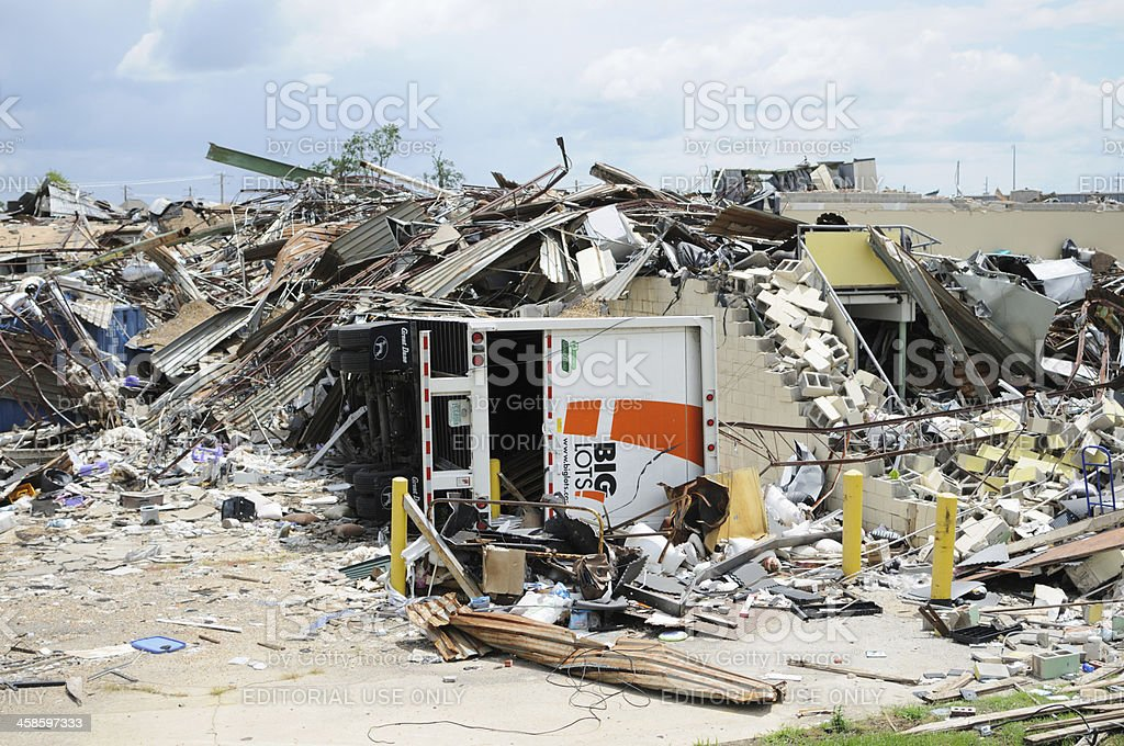 Big Lots store destroyed by tornado stock photo