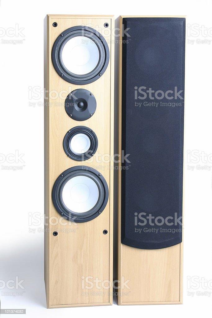 Big  loudspeakers on white stock photo