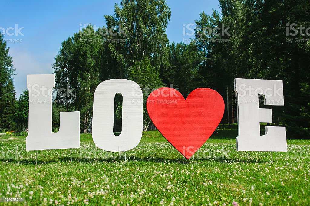 Big Love letters stock photo