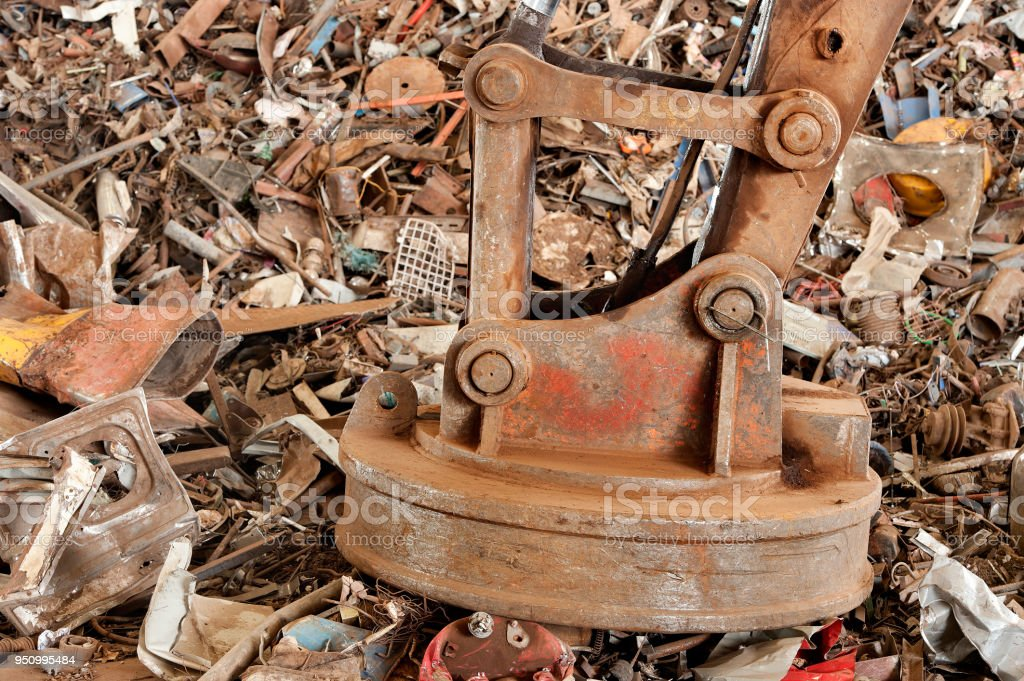 big magnet in junk yard stock photo more pictures of aluminum istock